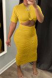 Yellow Euramerican Women Solid Color Short Sleeve Round Collar Mid Waist Ruffle Midi Dress JR3640-3