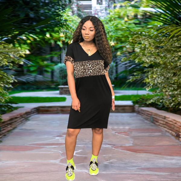 Solid Color V-collar Short Sleeve Midi Dress