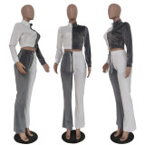 Velvet Colorblock Long Sleeve Crop Top and Flared Pants Set TRS1178