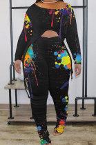 Black Splash-Ink Print Long Sleeve Drawsting Loose Top Ruffle Pants Sets OEP6309-1