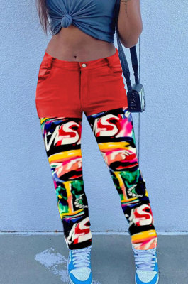 Red Print Spliced Mid Waist Jean Shift Pants LSZ9058-2