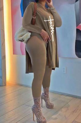Khaki Euramerican Women Long Sleeve Printing Casual Pants Sets JR3654-2