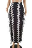 Black Euramerican Casual Tassel Black White Printing Sexy Skirts HZF57807