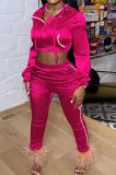 Rose Red Euramerican Women Casual Solid Color Long Sleeve Hooded Zipper Crop Bodycon Pants Sets MLM9077-4