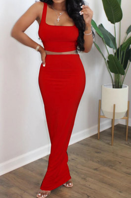 Red Euramerican Sexy Women Sleeveless Solid Color Tank Tight At Home Casual Skirts Sets KZ152-3
