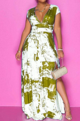 Earth Yellow Summer Sexy Digital Print V Collar Split Maxi Dress SZS8047-2