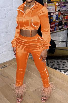 Orange Euramerican Women Casual Solid Color Long Sleeve Hooded Zipper Crop Bodycon Pants Sets MLM9077-3