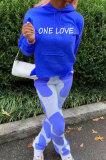 Blue Casual Digital Letter Print Long Sleeve Hoodie Pencil Pants Sport Sets TK6140-3