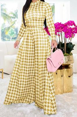 Yellow Euramerican Autumn Winter Women Plaid Printing Long Sleeve Round Collar Loose Pants Sets KZ2139-1