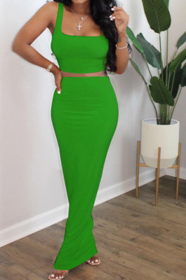 Green Euramerican Sexy Women Sleeveless Solid Color Tank Tight At Home Casual Skirts Sets KZ152-7