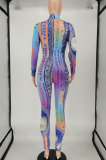 Multicolor Women Long Sleeve Positioning Printing Tight Casual Jumpsuits SMY8110