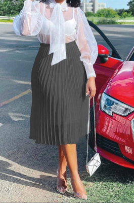 Black Simple Chiffon Pure Color Pleated Skirts TRS1177-2