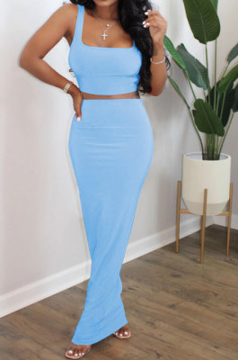 Light Blue Euramerican Sexy Women Sleeveless Solid Color Tank Tight At Home Casual Skirts Sets KZ152-1