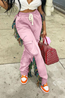 Pink Euramerican Casual Fashion Pure Color Stereoscopic Pocket Tassel Tied Long Pants MLM9076-4