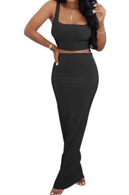Black Euramerican Sexy Women Sleeveless Solid Color Tank Tight At Home Casual Skirts Sets KZ152-4