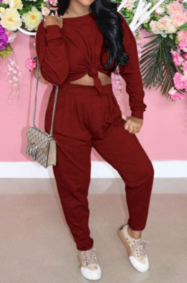Wine Red Casual Loose Long Sleeve T-Shirt Ruffle Pants Solid Color Sets TRS1160-2