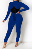 Dark Blue Euramerican Women Solid Color Spliced Tight Sexy Tied Bandage Zipper Pants Sets HZF57801-3