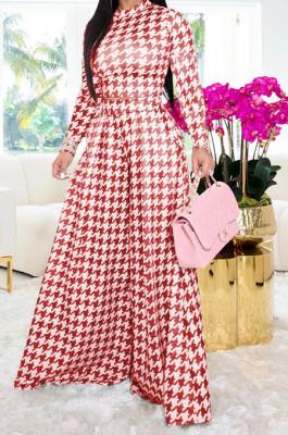 Red Euramerican Autumn Winter Women Plaid Printing Long Sleeve Round Collar Loose Pants Sets KZ2139-2