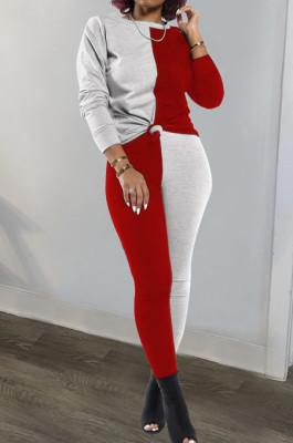 Gray Red Euramerican Sexy Women Autumn Spliced Color Block Long Sleeve Long Pants Sets KZ158-6