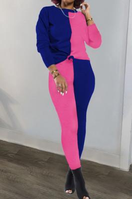 Blue Rose Red Euramerican Sexy Women Autumn Spliced Color Block Long Sleeve Long Pants Sets KZ158-4