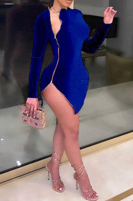 Blue Euramerican Women Sexy Korea Velvet Fashion Double Zipper Long Sleeve Autumn Winter Pure Color Mini Dress SH7281-3
