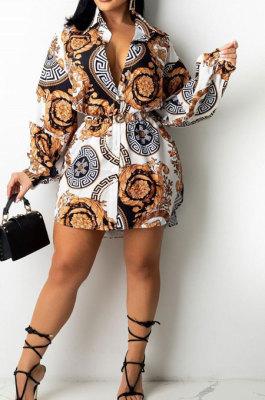 Euramerican Women Long Sleeve Turn-DownCollar Cardigan Single-Breasted Fashion Printing Shirts YZ7056