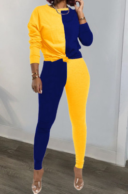 Yellow Blue Euramerican Sexy Women Autumn Spliced Color Block Long Sleeve Long Pants Sets KZ158-5
