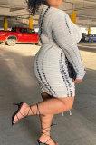 White Printing Stripe Drawsting Ruffle Long Sleeve Sexy Women Plus Skirt Sets HZF57806