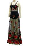 Black Women Condole Belt Mid Waist Club Perspectivity Embroidered Plus Long Dress YF9264