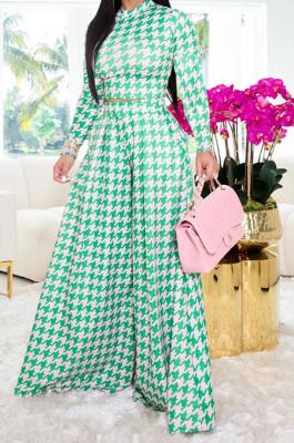 Green Euramerican Autumn Winter Women Plaid Printing Long Sleeve Round Collar Loose Pants Sets KZ2139-5