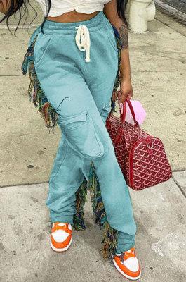 Light Blue Euramerican Casual Fashion Pure Color Stereoscopic Pocket Tassel Tied Long Pants MLM9076-1