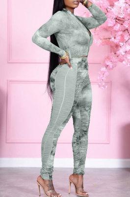 Green Wholesale Print Long Sleeve Zip Front Mesh Spliced Ruffle Hip Pants Sport Sets TK6139-1