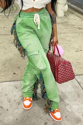 Light Green Euramerican Casual Fashion Pure Color Stereoscopic Pocket Tassel Tied Long Pants MLM9076-5