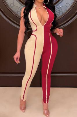 Red Euramerican Women Tight Sleeveless Spliced Zipper Low Waist Bodycon Jumpsuits JR3649-2