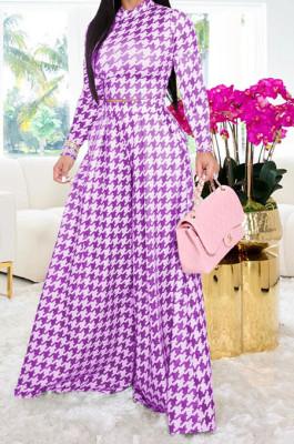 Purple Euramerican Autumn Winter Women Plaid Printing Long Sleeve Round Collar Loose Pants Sets KZ2139-3