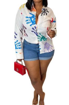 Multicolor Handprint Women Trendy Casual Printing Long Sleeve Turn-DownCollar Cardigan Single-Breasted Shirts YZ7062