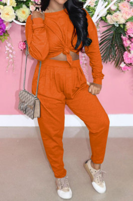 Orange Casual Loose Long Sleeve T-Shirt Ruffle Pants Solid Color Sets TRS1160-6