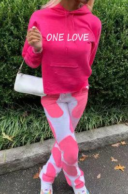 Pink Casual Digital Letter Print Long Sleeve Hoodie Pencil Pants Sport Sets TK6140-1