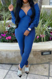Blue Women Autumn Women Solid Color V Collar Batwing Sleeve Collect Waist Back Hollow Out Bodycon Jumpsuits SMY8111-3