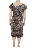 Leopard Sexy Women Printing Irregular Plus Mini Dress HZF57805