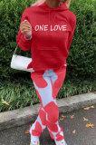 Red Casual Digital Letter Print Long Sleeve Hoodie Pencil Pants Sport Sets TK6140-2