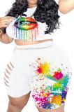 Blue Euramerican Big Size Women Fashion Casual Hole Lips Positioning Printing Plus Shorts Sets HZF57802-3