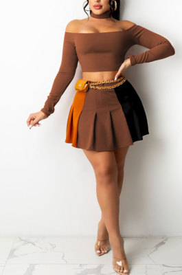 Coffee Wholesale A Word Shoulder Long Sleeve Crop Top Spliced Ruffle Pleated Skirts TRS1175-4