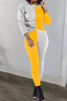 Gray Yellow Euramerican Sexy Women Autumn Spliced Color Block Long Sleeve Long Pants Sets KZ158-8