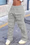 Gray Women Pure Color More Pocket Mid Waist Long Pants SMY8063-2
