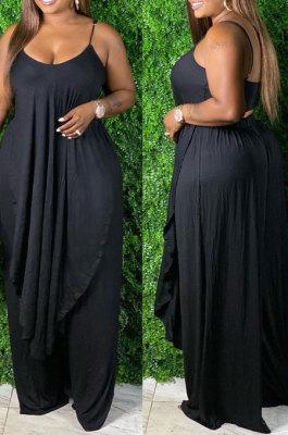 Black Sexy Pure Color Condole Belt Irregularity Top Wide Leg Pants Sets QZ7003-1