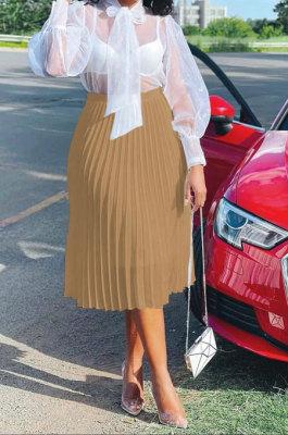 Khaki Simple Chiffon Pure Color Pleated Skirts TRS1177-5
