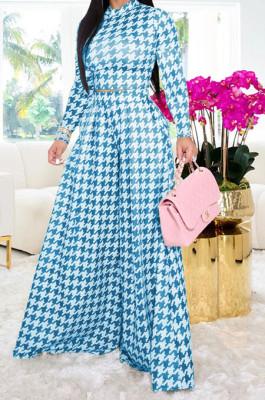 Light Blue Euramerican Autumn Winter Women Plaid Printing Long Sleeve Round Collar Loose Pants Sets KZ2139-6