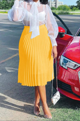 Yellow Simple Chiffon Pure Color Pleated Skirts TRS1177-4