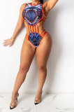 Blue Tanks Fashion Sleeveless Condole Belt Hollow Out Dew Waist Split Pants Sets YF9239